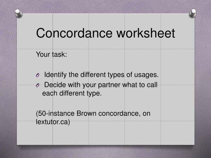 Concordance worksheet