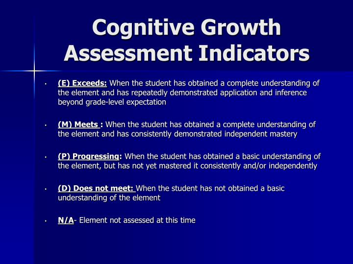 Cognitive Growth Assessment Indicators
