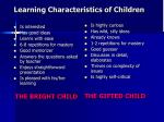 learning characteristics of children