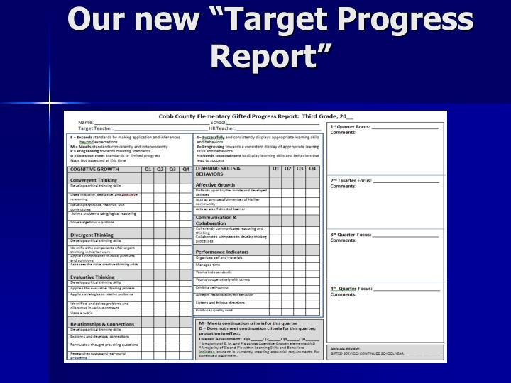 "Our new ""Target Progress Report"""