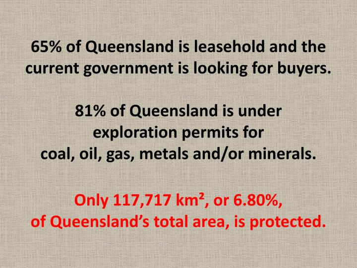 65% of Queensland is leasehold and the