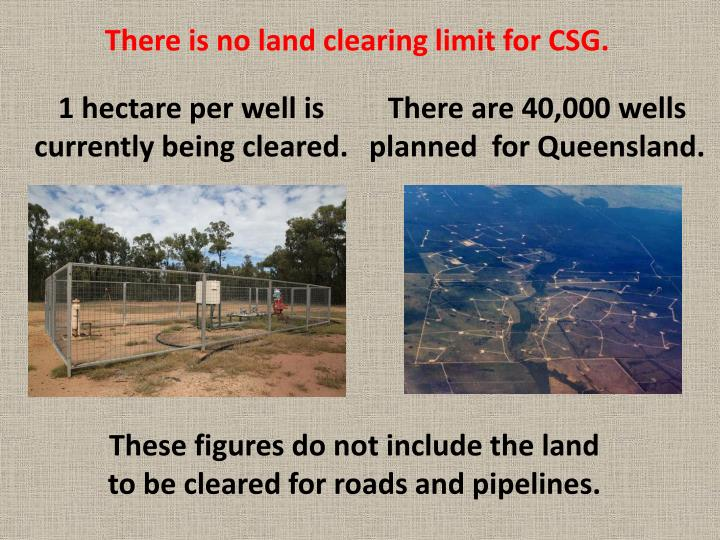 There is no land clearing limit for CSG.