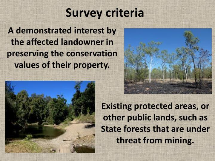 Survey criteria