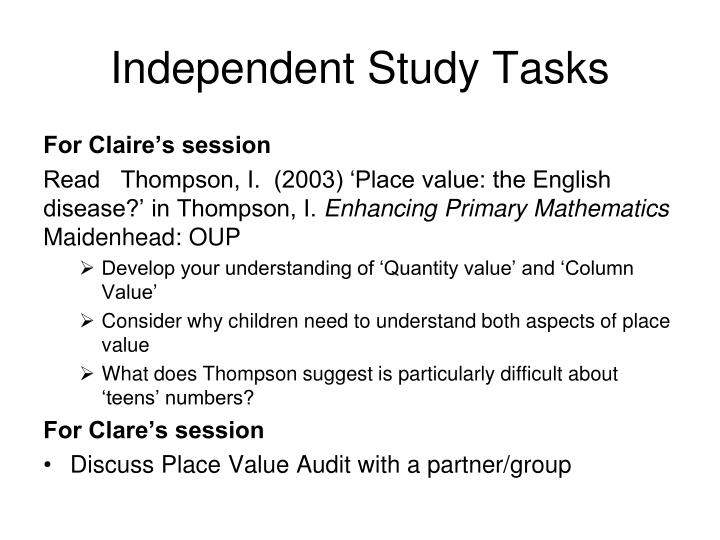 Independent Study Tasks