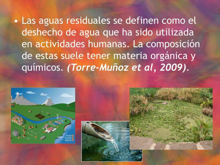 Las aguas residuales se definen como el deshecho de agua que ha sido utilizada en actividades humanas. La composición de estas suele tener materia orgánica y