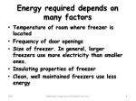 energy required depends on many factors