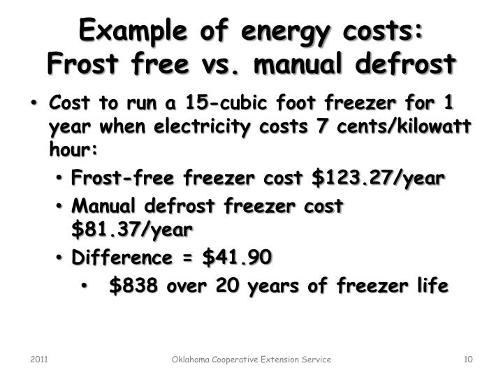 Example of energy costs: