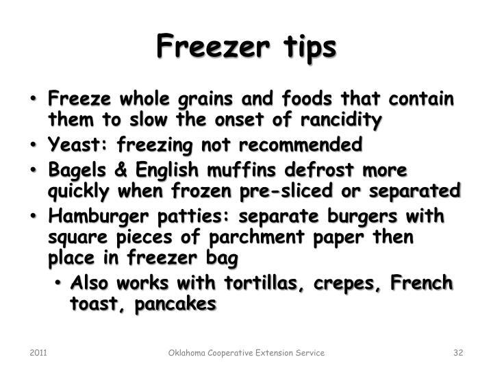 Freezer tips