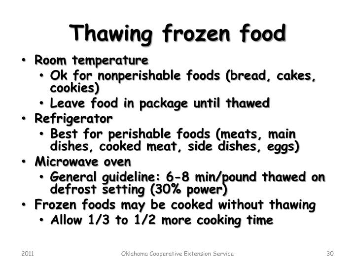 Thawing frozen food