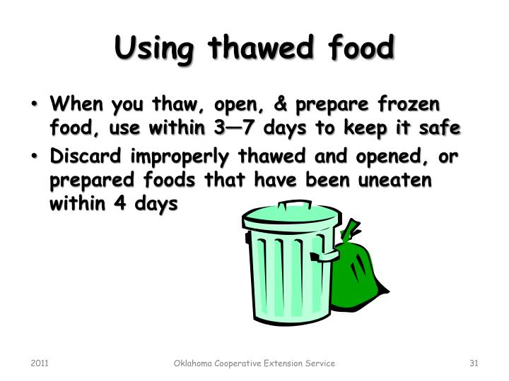 Using thawed food