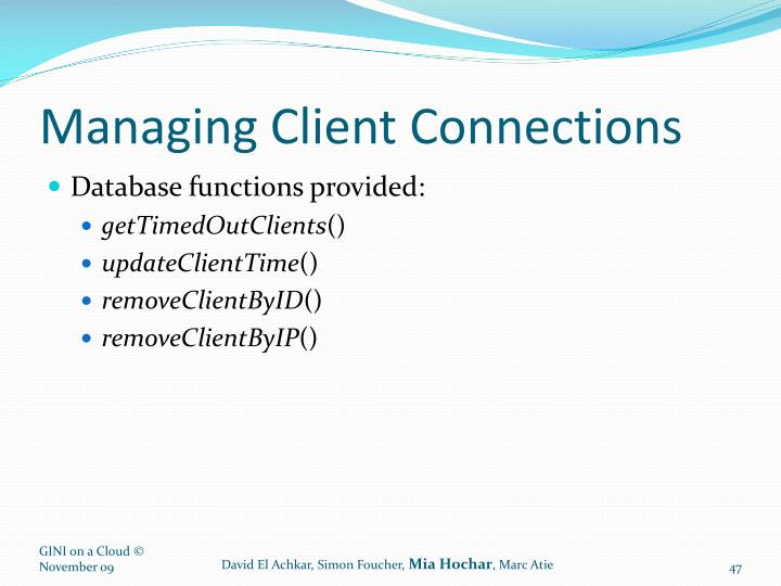 Managing Client Connections