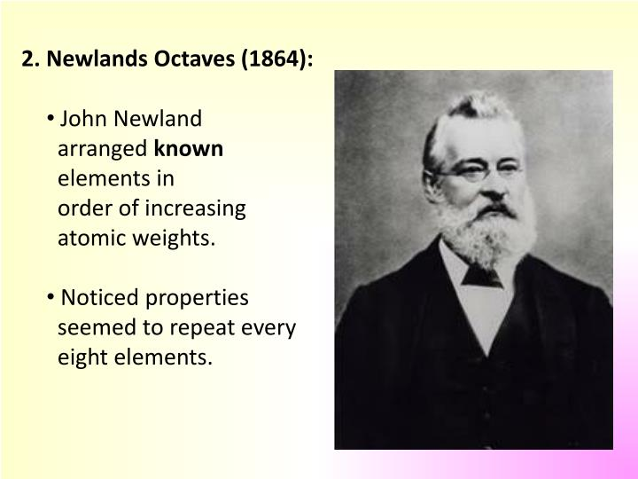 2. Newlands Octaves (1864):