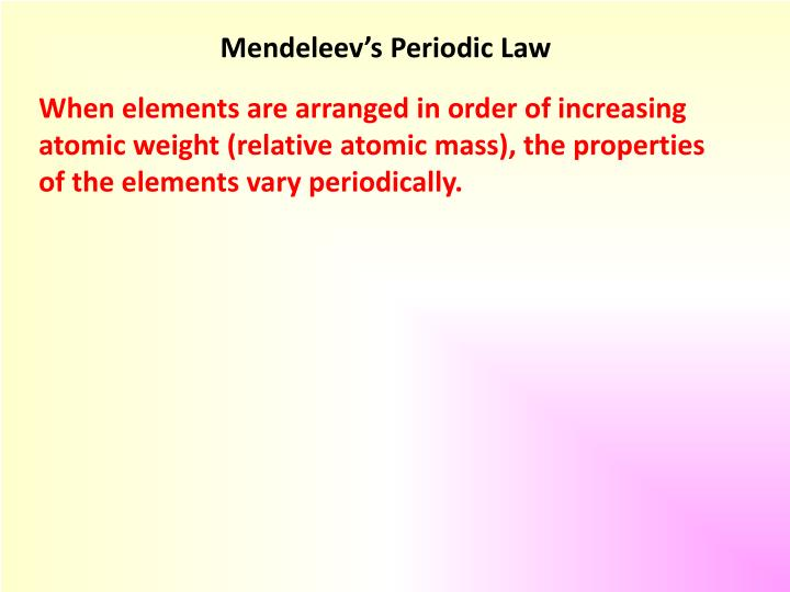 Mendeleev's Periodic Law