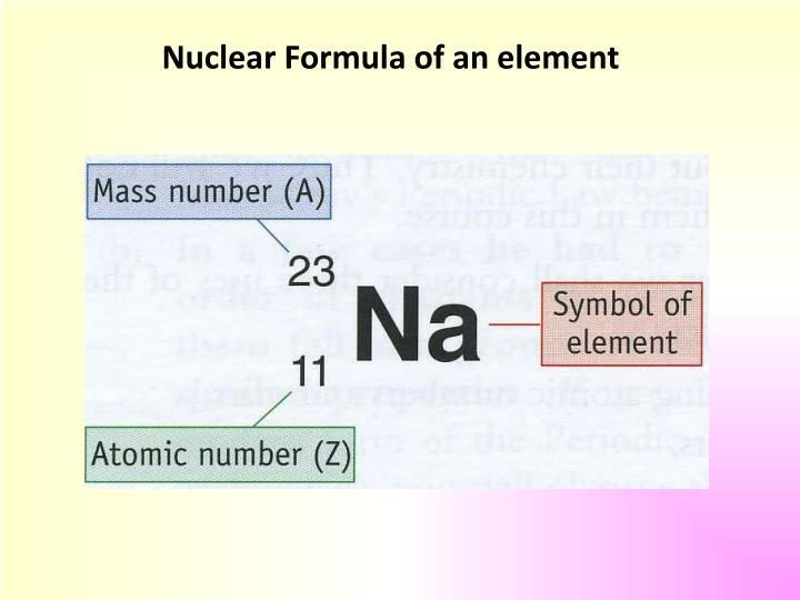 Nuclear Formula of an element