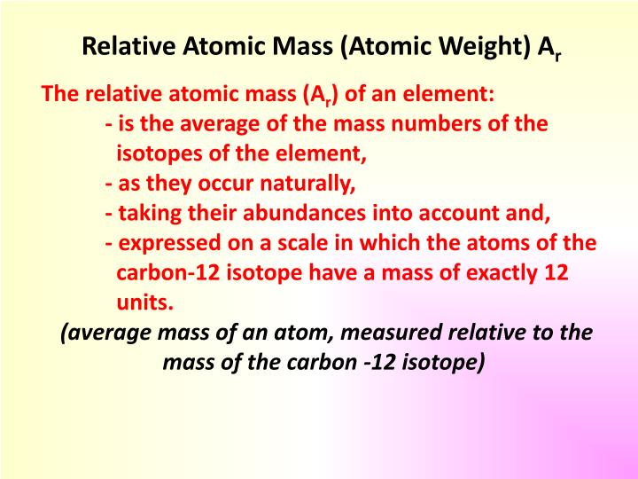 Relative Atomic Mass (Atomic Weight)