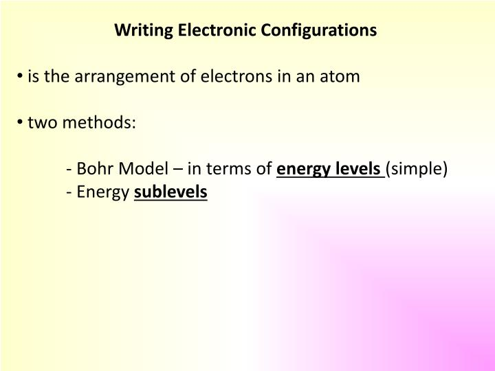 Writing Electronic Configurations