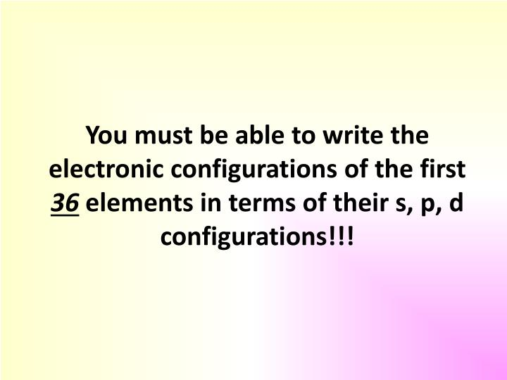 You must be able to write the electronic configurations of the first