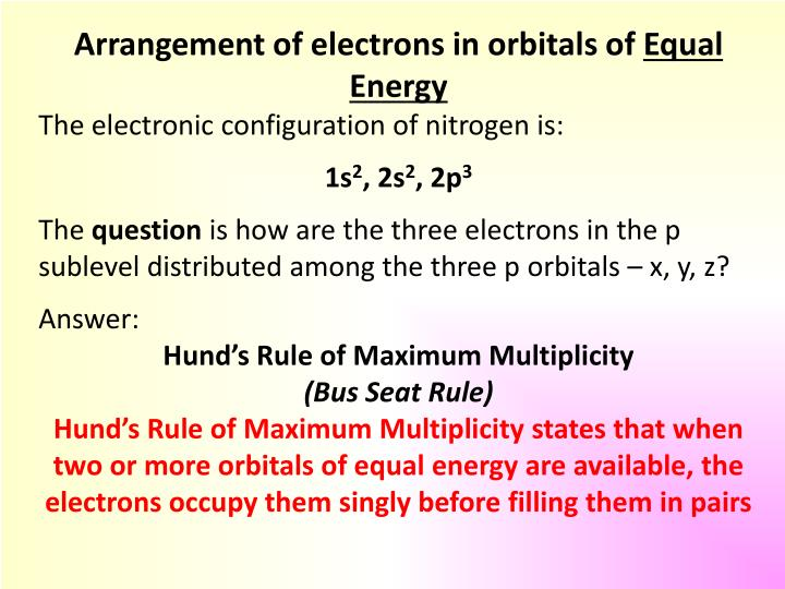Arrangement of electrons in