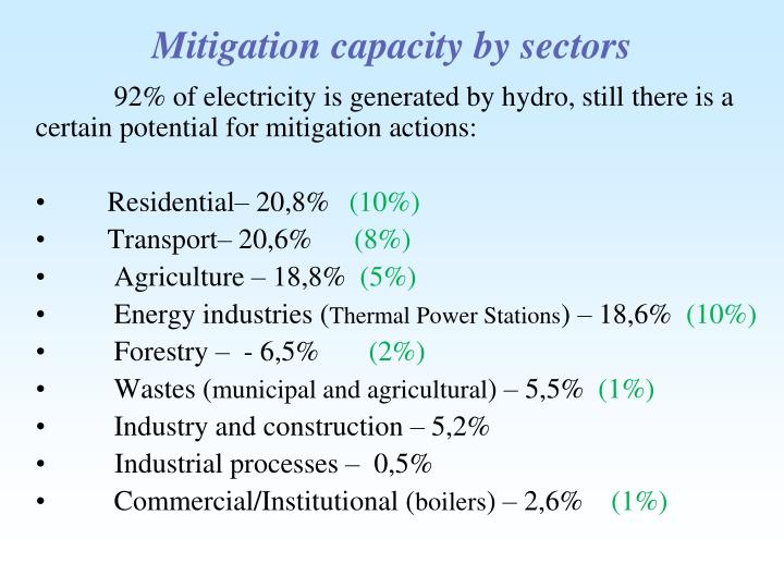 Mitigation capacity by sectors