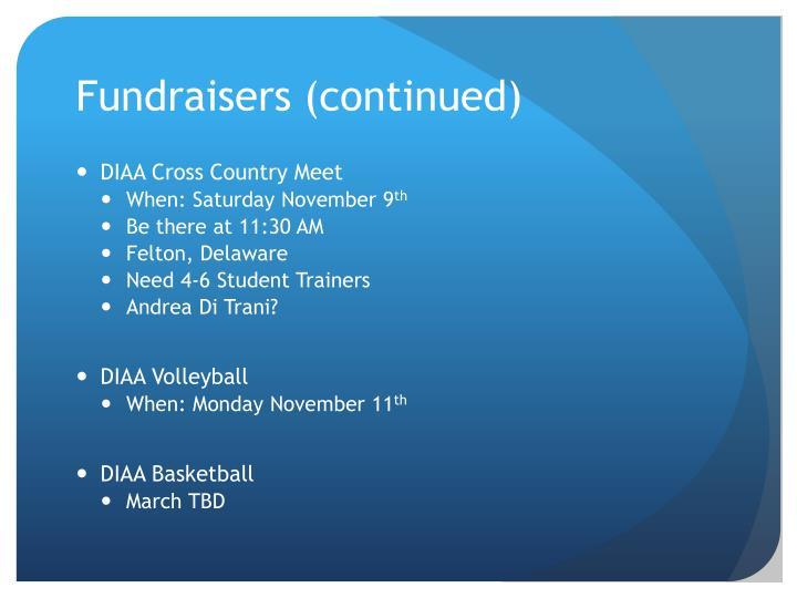 Fundraisers (continued)