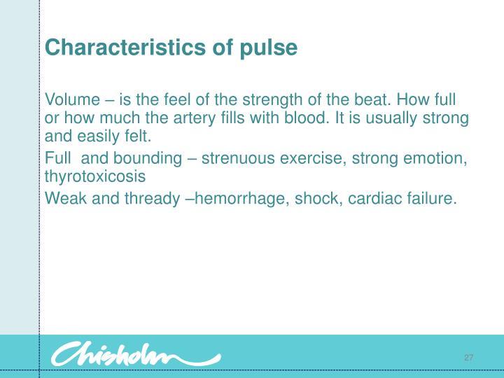 Characteristics of pulse