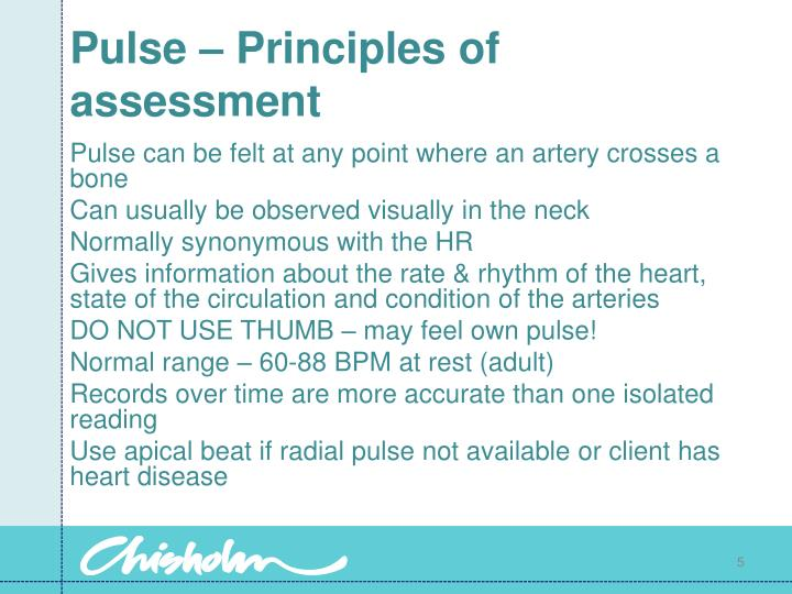 Pulse – Principles of assessment