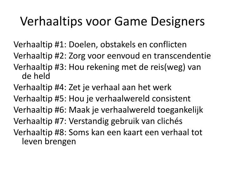 Verhaaltips voor Game Designers
