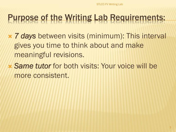 Purpose of the writing lab requirements