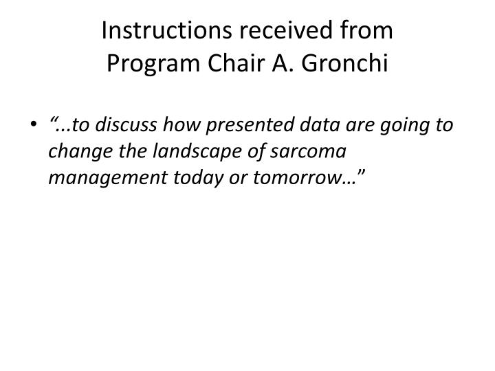 Instructions received from program c hair a gronchi