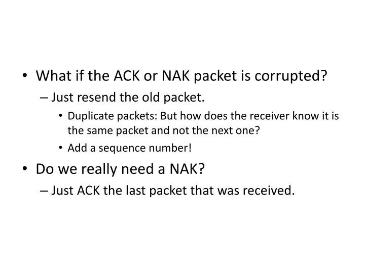 What if the ACK or NAK packet is corrupted?