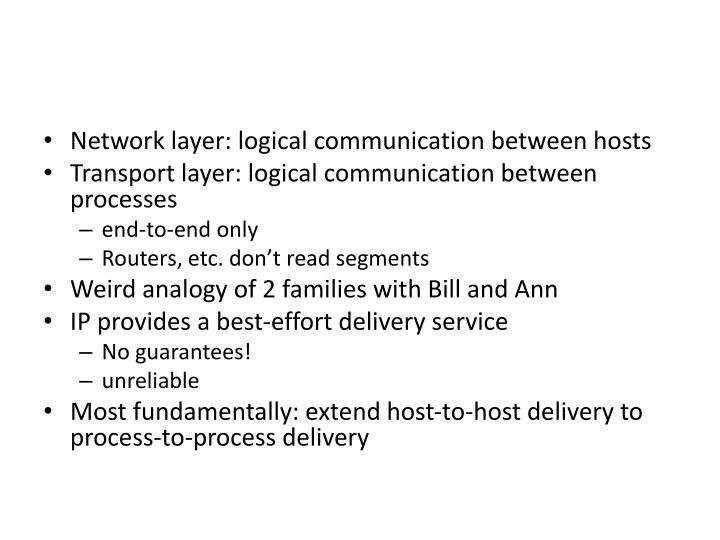 Network layer: logical communication between hosts