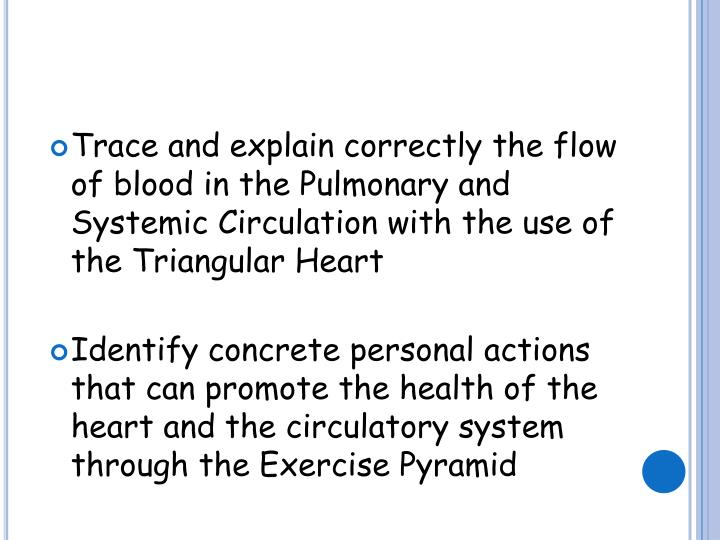 Trace and explain correctly the flow of blood in the Pulmonary and Systemic Circulation with the use...