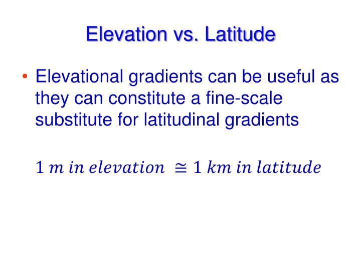 Elevation vs. Latitude