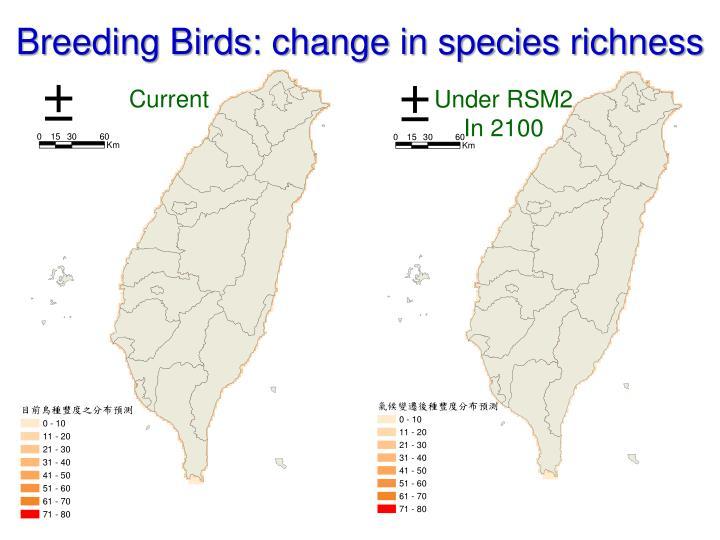 Breeding Birds: change in species richness