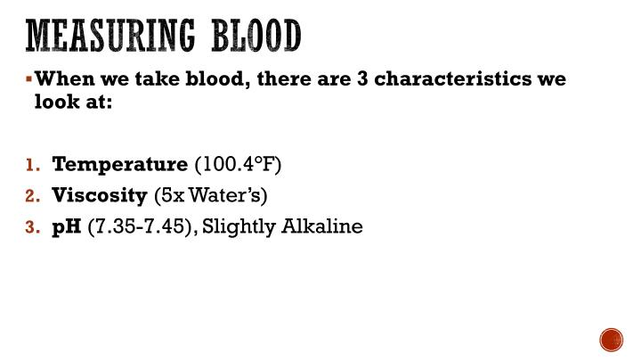 measuring blood