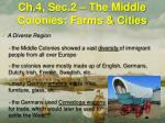 ch 4 sec 2 the middle colonies farms cities4
