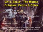 ch 4 sec 2 the middle colonies farms cities6