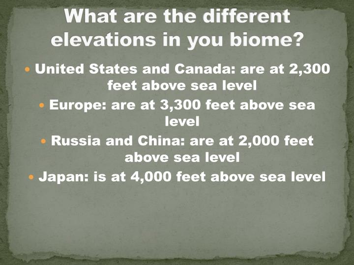 What are the different elevations in you biome?