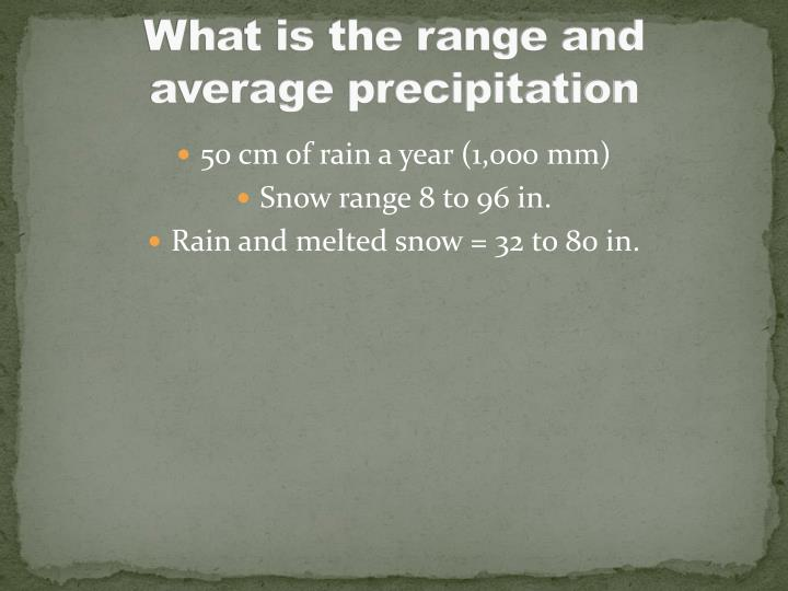 What is the range and average precipitation