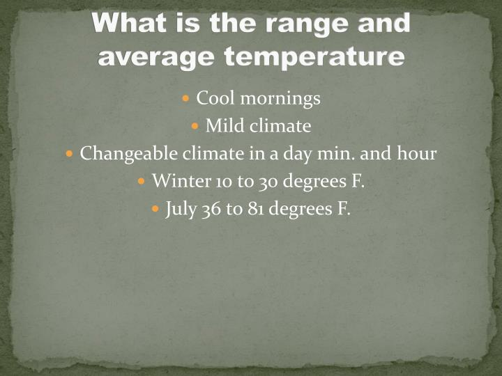 What is the range and average temperature