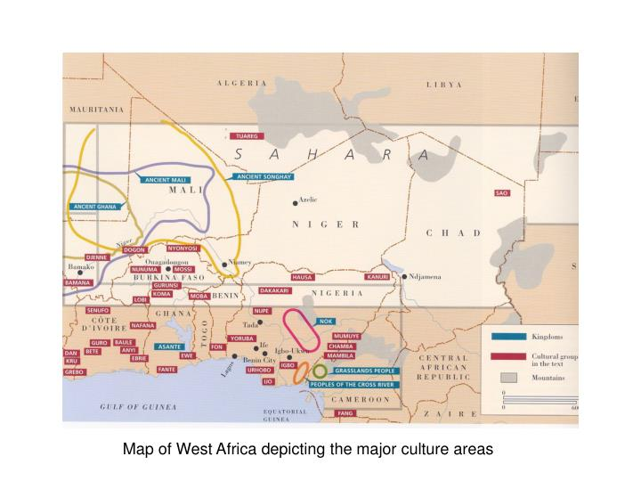 Map of West Africa depicting the major culture areas