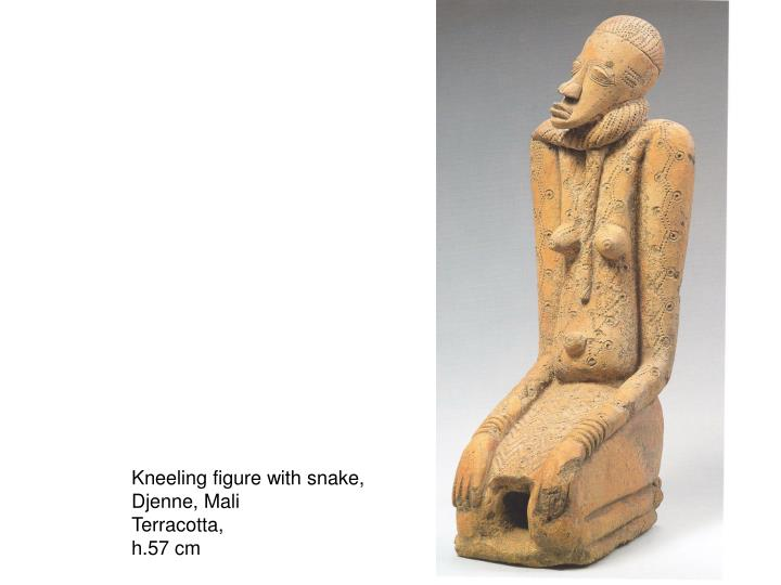Kneeling figure with snake,