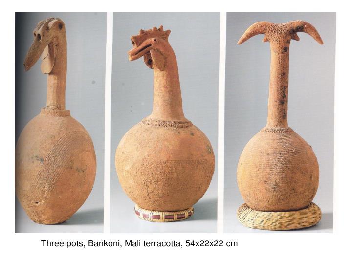 Three pots, Bankoni, Mali terracotta, 54x22x22 cm
