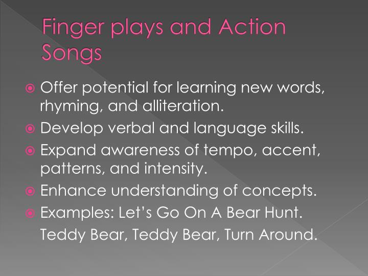 Finger plays and Action Songs