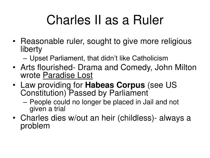 Charles II as a Ruler