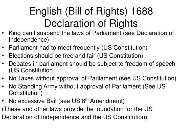 English (Bill of Rights) 1688