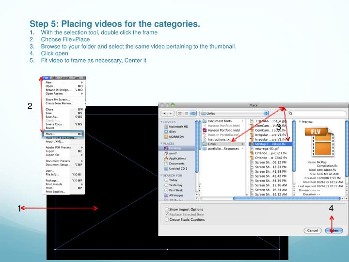 Step 5: Placing videos for the categories.