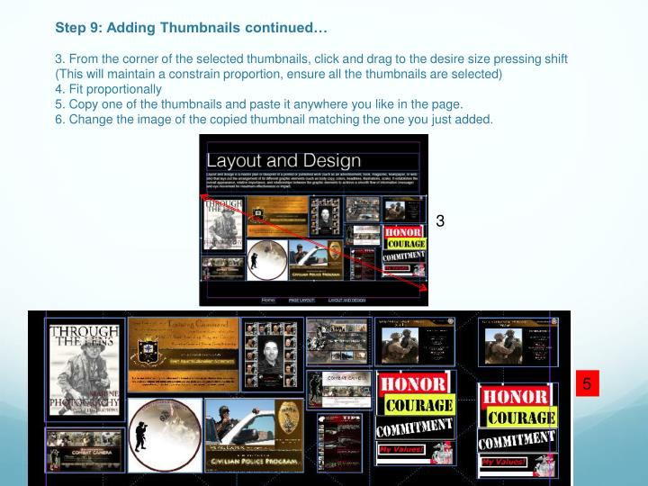 Step 9: Adding Thumbnails continued…