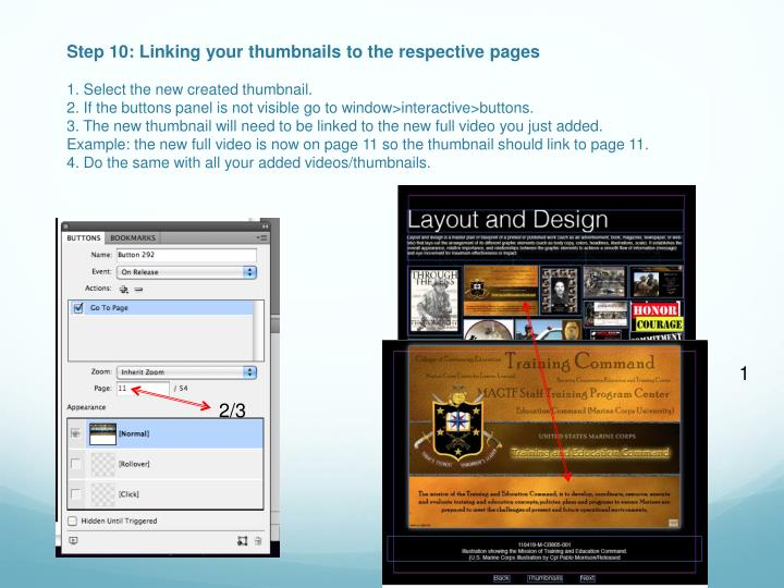 Step 10: Linking your thumbnails to the respective pages