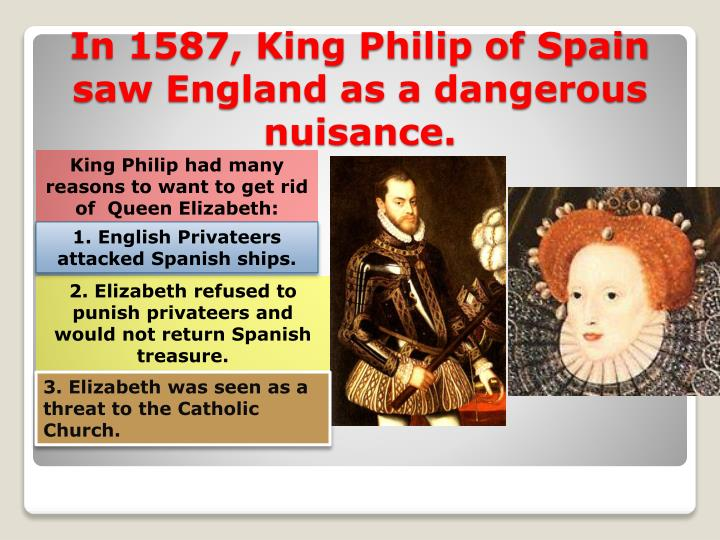 King Philip had many reasons to want to get rid of  Queen Elizabeth: